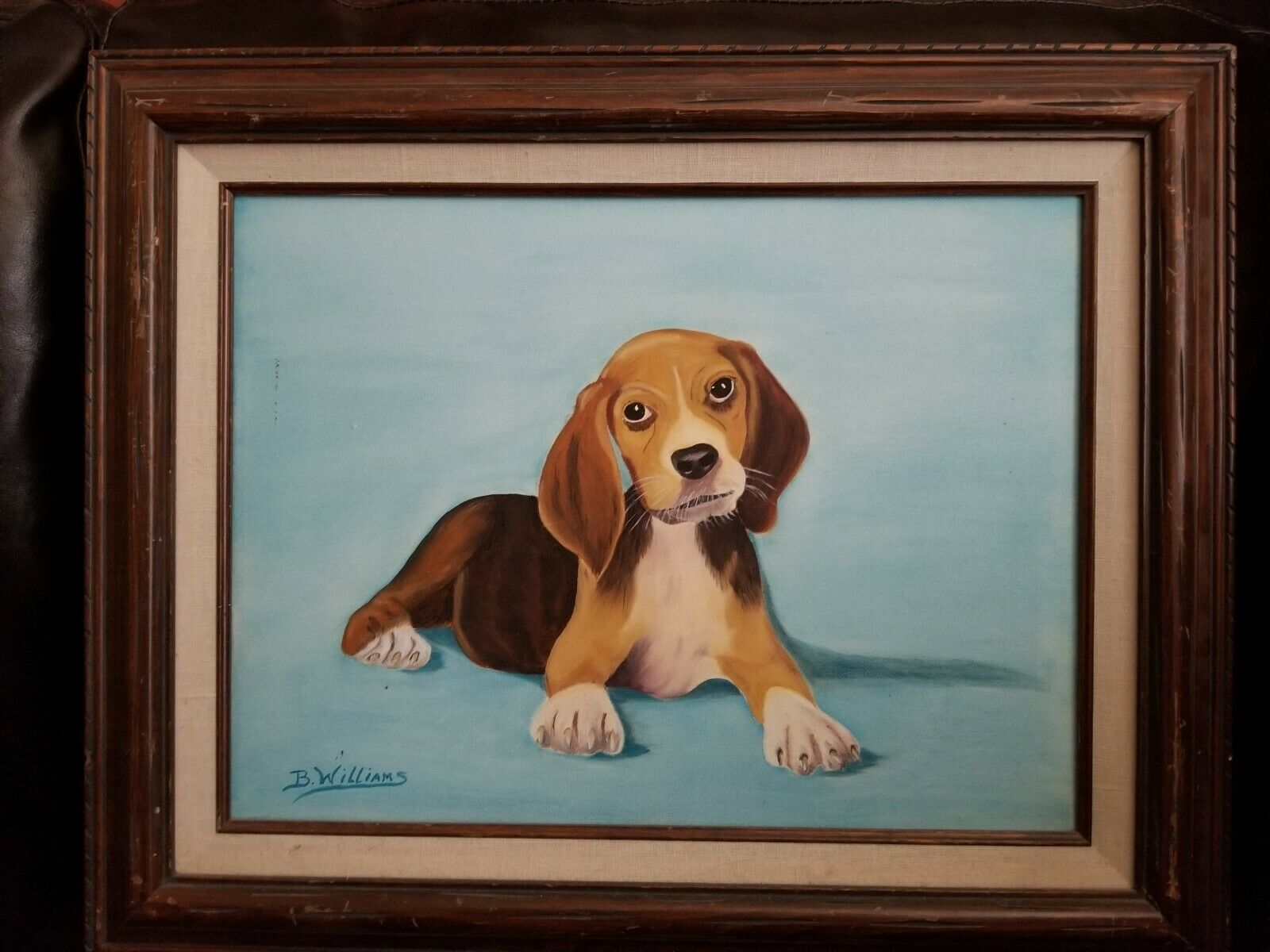 Beagle Puppy Dog Painting Portrait Framed Original Art Signed B Williams Ebay
