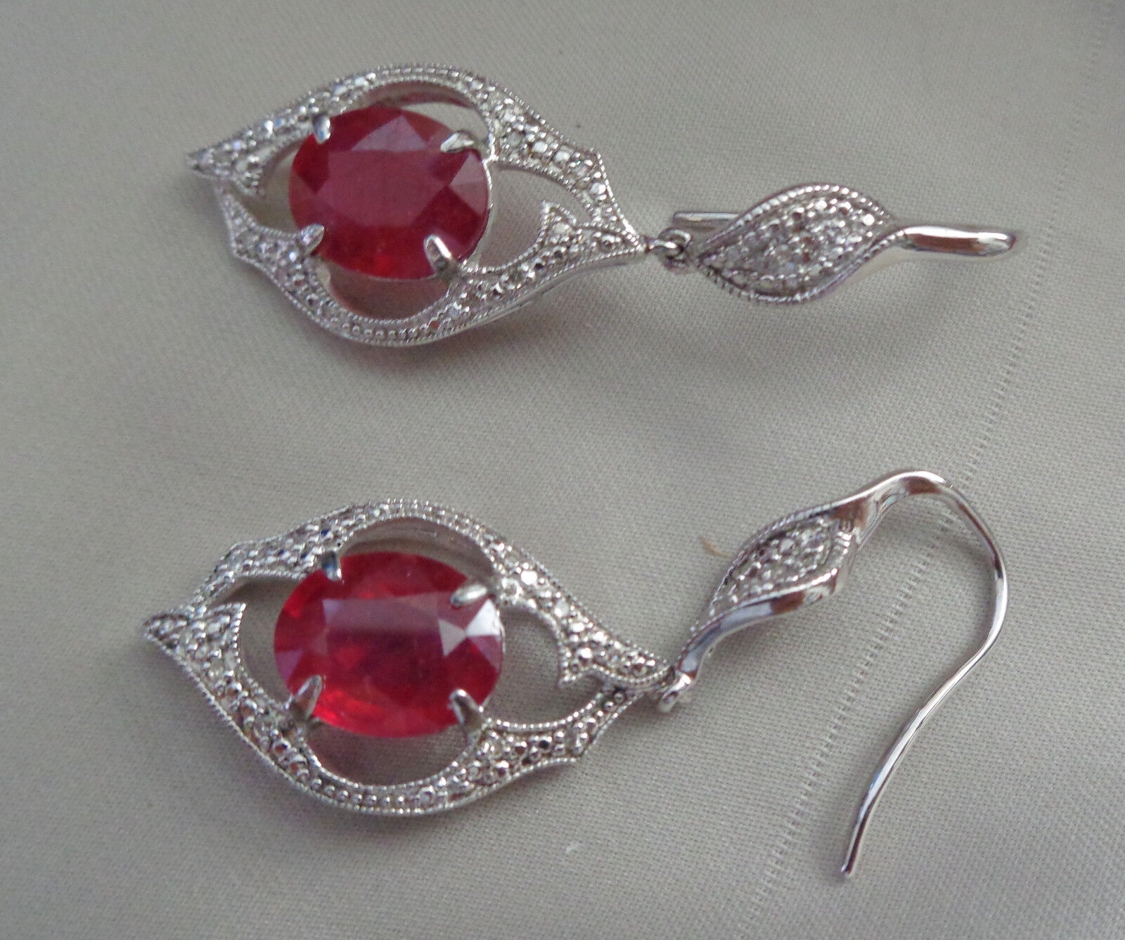 STERLING EARRINGS W, PRETTY RUBY FACETED  CRYSTAL FISH HOOK WIRE