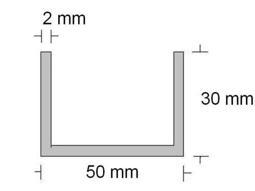 4,85€//m 1,00m Alu U Profil  30 30 x 2 mm, 50