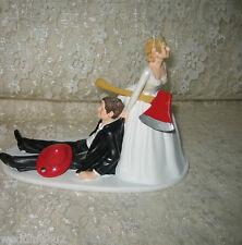 Wedding Reception ~Fireman Firefighter~ Red Helmet Axe Bride & Groom Cake Topper