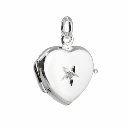 925 Sterling Silver Love Romance Photo NEW Heart Locket with Tiny Diamond