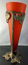"12"" WMF ? Iconic Art Nouveau Grapevine Ceramic Bronze Vase Satin Glass Red"