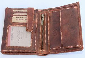 RFID/NFC Geldbörse Kombibörse Naturleder Brieftasche Portmonai Vollrindleder