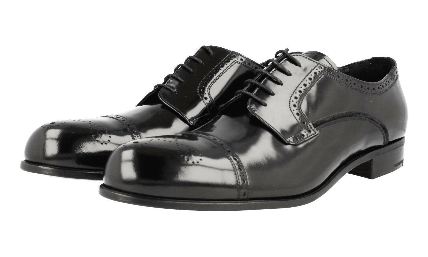 LUXUS PRADA CAP TOE DERBY SEMI BROGUE SCHUHE 2EE205 SCHWARZ NEU NEW 9,5 43,5 44