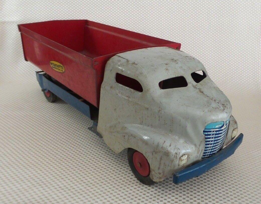 Large Vintage Années 1930 WYANDOTTE Rouge Blanc Pressé Acier jouet camion benne