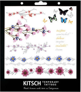 KITSCH-FLOWER-METALLIC-temporary-TATTOO-SET-festival-butterfly-large-hippy