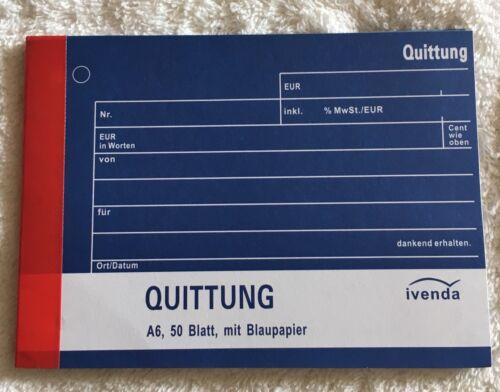Quittung Block Quittungsblock A6 50 Blatt Blaupapier Einzelblatt Kohlepapier