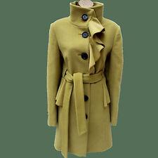 Karen Millen Olive Green Feminine Wool Longline Peplum Ruffle Coat Jacket 12-10