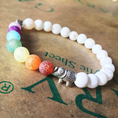 Healing Bracelet Jewelry Chakra Bracelet 7 WHITE with ELEPHANT CHARM Fashion