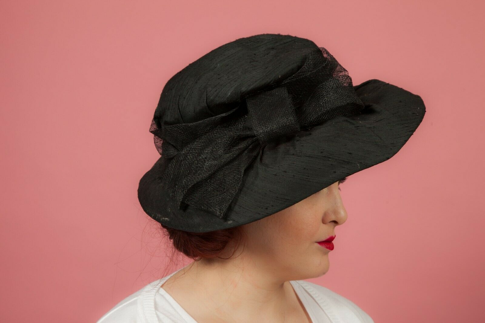 Oversized black raw silk bow formal hat by Pamela Bromley - wedding races MOB