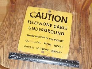 caution underground telephone cable general telephone company tin sign free shi