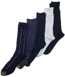 $50 Gold Toe Men 4-Pair Pack Black Casual Cotton Crew Dress Socks Shoe Size 6-12