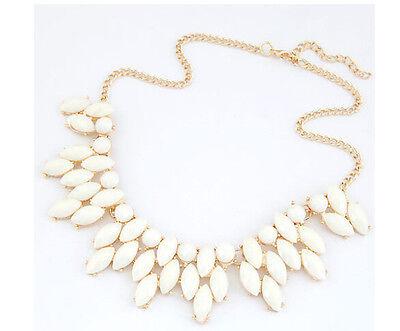 Lady Charm Gold Tone Chain Cream White Resin Elegant Statement Choker Necklace