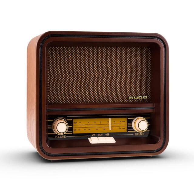 Vintage Radio Retro Portable AM FM Tuner USB MP3 Wooden Speaker Classic Knobs