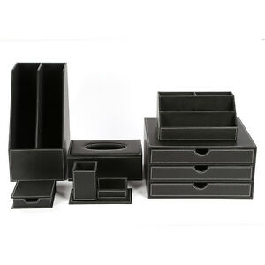 Fashion 6pcs home office desk set faux leather wooden - Faux leather desk organizer ...