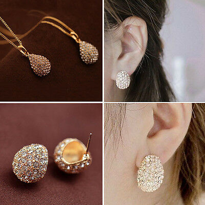 Women Silver Gold Plated Crystal Rhinestone Necklace Stud Earrings Jewelry Set