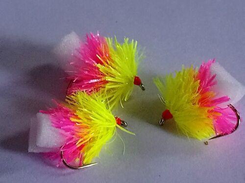 New X 6 Neon Size 10 Fruit Salad Foam Arse Blobs Fab//Trout Flies//Fly Fishing...