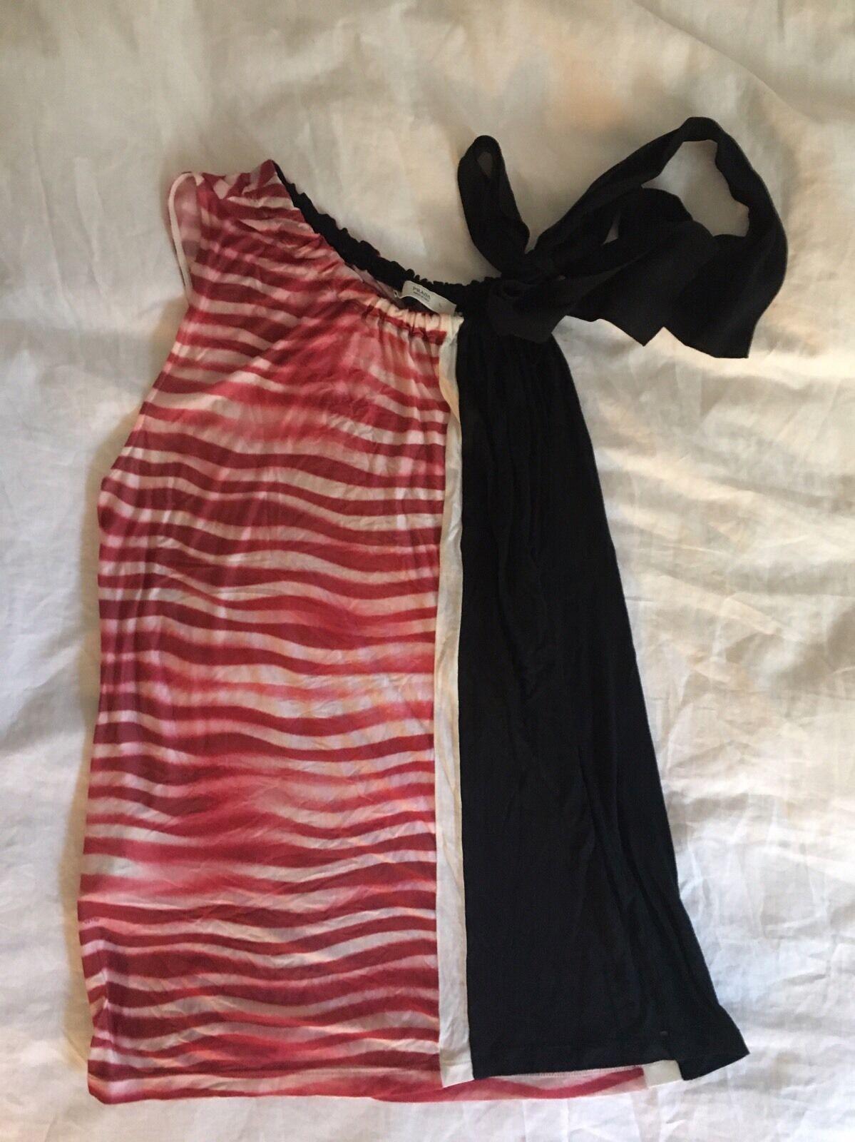 Prada ROT & Weiß Sleeveless Modal & Silk Blouse w/ Bow at Shoulder Sz L EUC