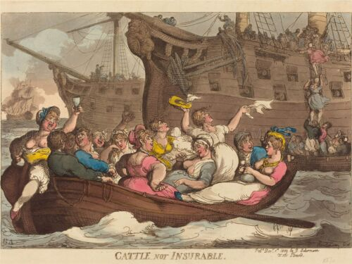 THOMAS ROWLANDSON BRITISH CATTLE NOT INSURABLE OLD ART PAINTING POSTER BB6425A