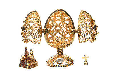 Faberge Carved Egg Church of Savior on Blood St.Petersburg 2.8'' 7 cm gold color