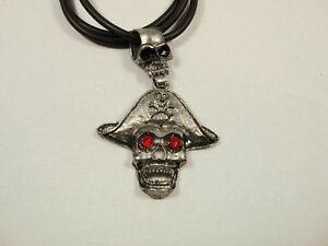 Black-round-cord-necklace-silver-tone-metal-skull-pirate-attach-Halloween-Gothic
