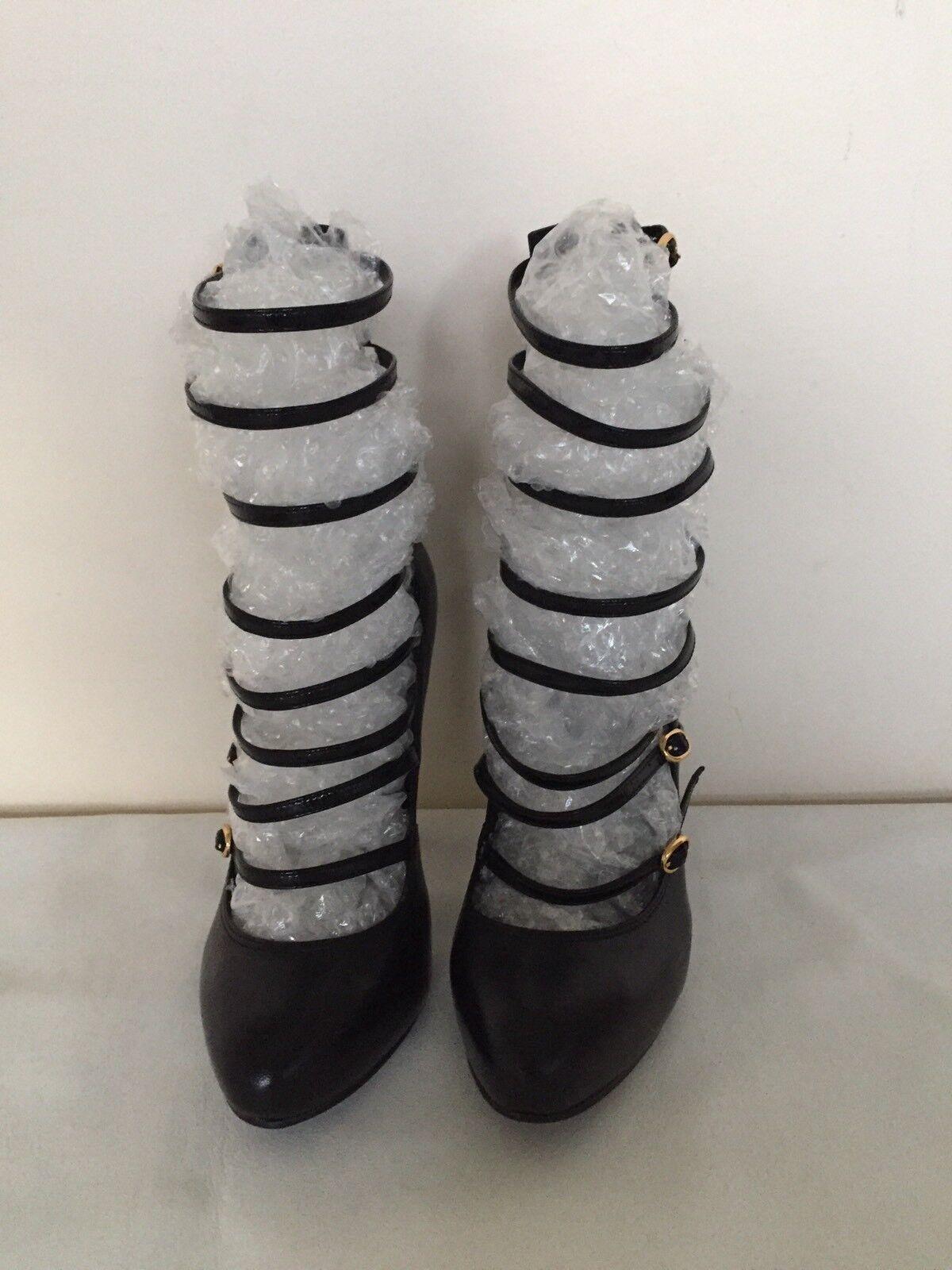 40caed935e511 ... CARVELLA ACDC en Cuir 8 Bride Bottes Plateforme Cheville Bottes Bride  stiletto Cour Chaussures Noir 5 ...