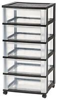 Wide 5-drawer Cart, Black, New, Free Shipping