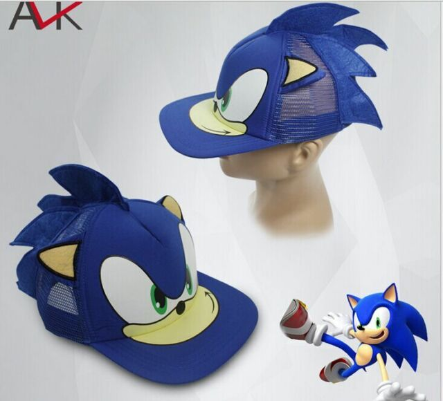 e4707c44996 Sonic The Hedgehog Snapback Face Cartoon Youth Adjustable Baseball Hat Cap  Blue
