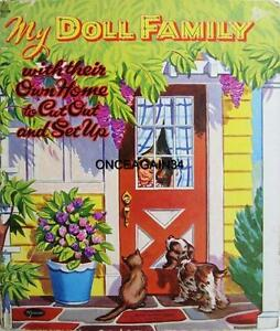 VINTAGE UNCUT 1955 MY DOLL FAMILY PAPER DOLLS~#1 REPRODUCTION~24 PAGES CLOTHING!