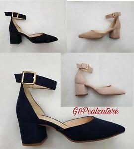low priced 54687 ffaff Dettagli su Decolletè Estrodonna scarpa donna con il tacco basso decoltè a  punta e cinturino