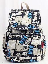 """Girl's 16"""" Canvas Pink School Backpack Book Bag Travel Shoulder Bag  New York"""