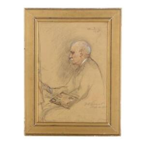Louis-Kronberg-Rare-Signed-Dated-Titled-Framed-Artist-Seal-Chalk-Pastel-c-1905