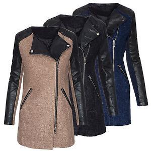 1bd7a3c2eb2480 Das Bild wird geladen Damen-Winter-Mantel-Jacke-Parka-Kunstleder-warm- Stehkragen-