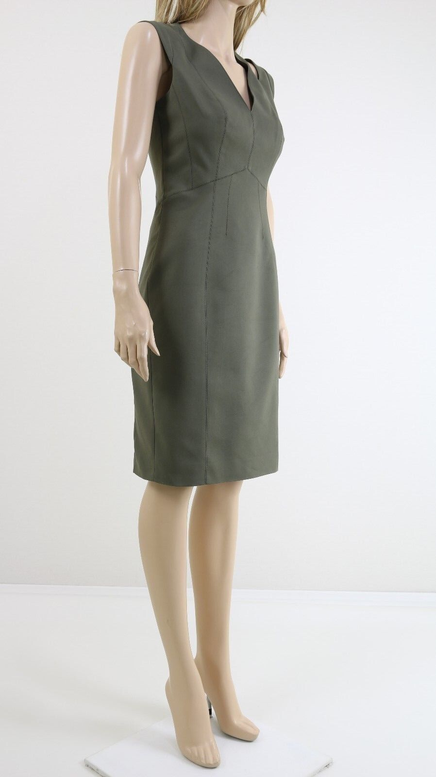 Karen Millen DA200 Woherren Khaki Cut out Pencil Cocktail Party Dress