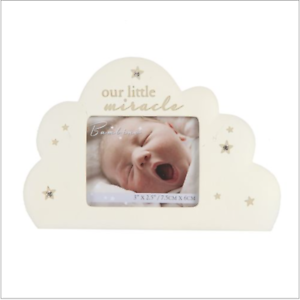 Baby notre petit miracle Cadre photo nuage en forme Occasion BAMBINO BABY SHOWER