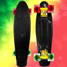 """RASTA 22"""" Penny Style SkateBoard Black w/ Yellow Truck, Clear Red & Green Wheels"""