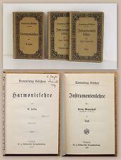 Sammlung Göschen Instrumentenlehre Bd 1&2 1909+ Harmonielehre 1905 Musik xz