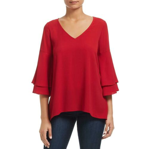 Status by Chenault Womens Bell Sleeves V-Neck Ruffled Blouse Top BHFO 1443