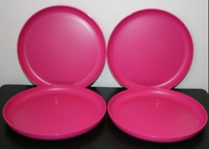 Image is loading Tupperware-No-Spill-Party-Plates-Set-of-4- & Tupperware No-Spill Party Plates Set of 4 Raised Edges 9-1/2