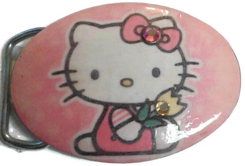 Hello Kitty Belt Buckle cat stones pink