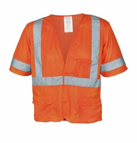 Orange Mesh High Visibility Safety Vest w// Sleeve and 5 Pockets ANSI Class 3