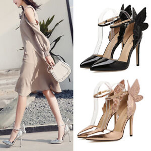 Chic Butterfly Wings High Heels Party Wedding Pumps stiletto Pointed ... 205e65df53a5