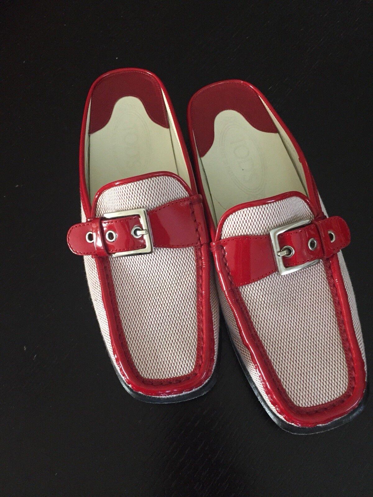 Tod'S Mujer Rojo mulas Slip Ons Pantuflas Zapatos Planos Tamaño Tamaño Tamaño 7 Hecho en Italia  los nuevos estilos calientes