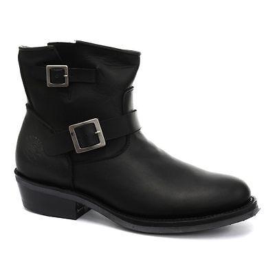 Charger Lo Grinders Mens Black Biker Non Safety Designer Leather Buckle Boots