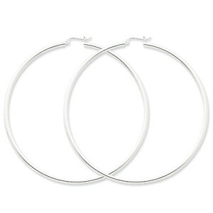925-Sterling-Silver-Rhodium-Plated-2-5mm-x-80mm-Polished-Hinged-Hoop-Earrings