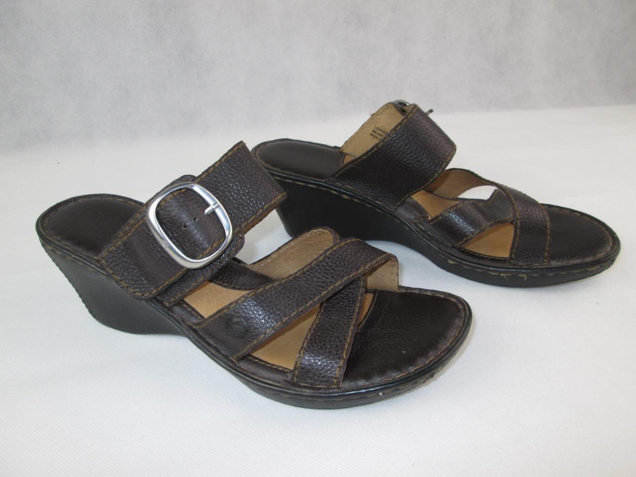 4b1fc560 ... Hebilla de cuero marrón marrón marrón nato para mujer sandalia de cuña  de plataforma talla 10 ...