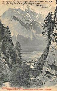 SWITZERLAND~RAGAZ -TAMINASCHLUCHT mit FALKNIS~1908 PHOTOGLOB POSTCARD