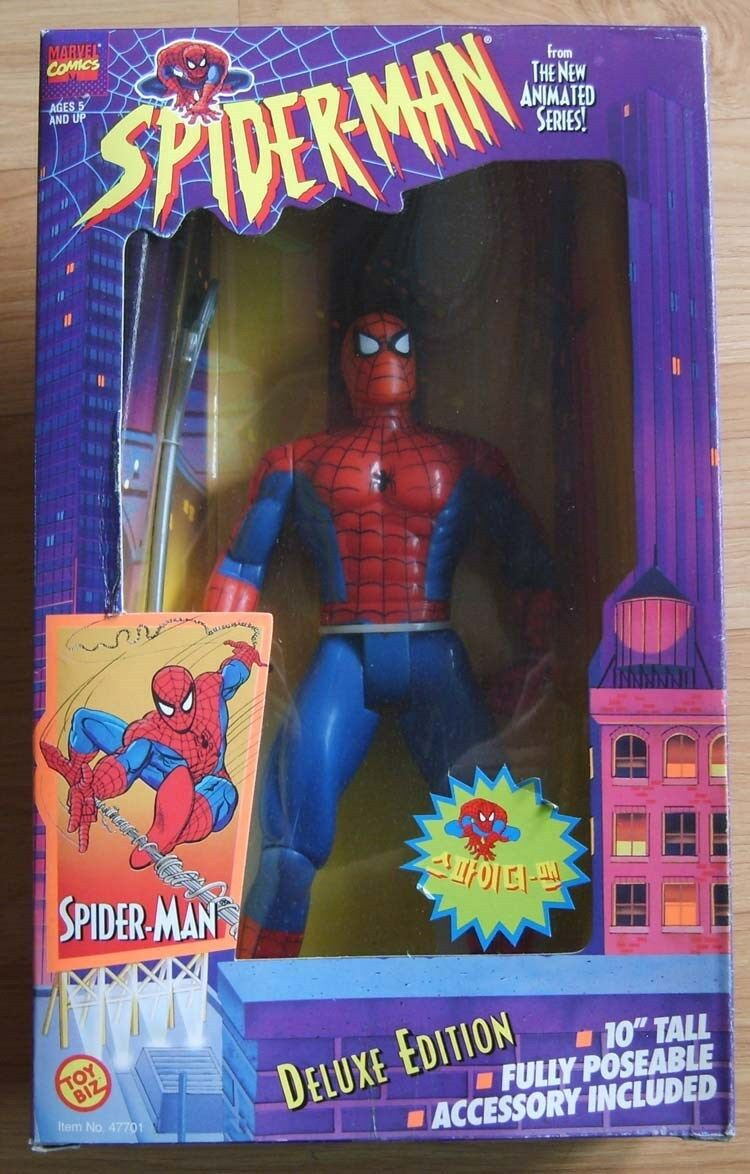 TOY BIZ MARVEL 1995 10'' SPIDERMAN ACTION FIGURE DELUXE EDITION  MIB
