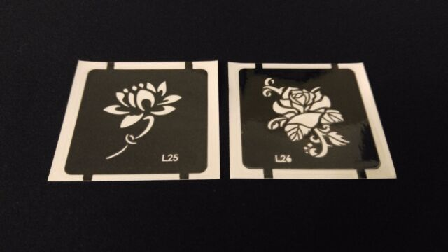 2pc Stem Lotus Rose Glitter Tattoo Stencil Set For Henna Airbrush
