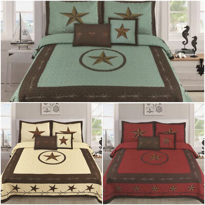 Texas Camouflage Western Boots Cowboy Design Star Barbed Wire Quilt BedSpread